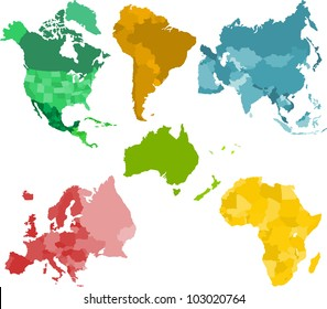 Set of a six silhouettes of a continents