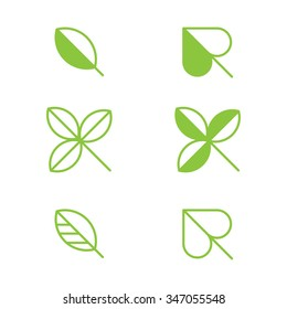 Set of six simple leaf symbols in green.