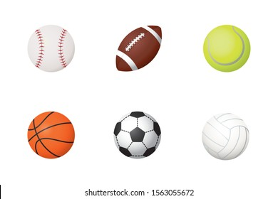 Set of six sports balls for baseball, football, tennis, basketball, soccer and volleyball vector illustration