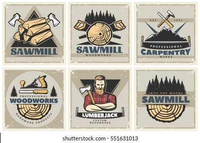Set of six square lumberjack posters with professional woodworks labels sawmill emblems and wood decorative symbols vector illustration