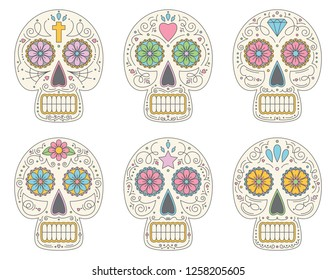 Set of six Sugar Skulls