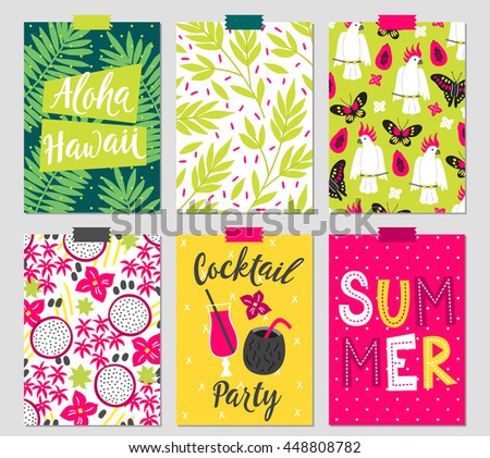 Set six summer greeting cards palm stock vector royalty free set of six summer greeting cards with palm leaves cockatoo butterfly papaya m4hsunfo