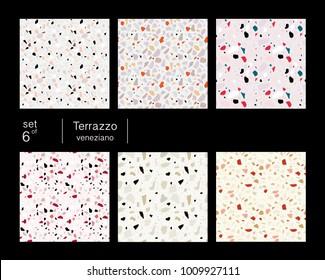 Set of six terrazzo veneziano seamless patterns. Pastel colors.