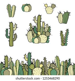A set of six varieties of cacti, a group and a seamless border of colored cacti. Isolated illustration on white background.