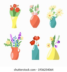 Set of six vases with flowers