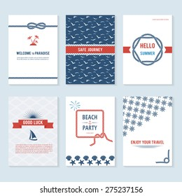 Set of six vector banner templates in marine style. Elegant invitation card. Celebration design. Graphic patterns. Greeting card. Beach party. Rope borders