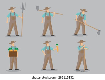 Set of six vector cartoon illustration of farmer wearing straw hat and overall using garden tools for various agriculture activities isolated on grey background.