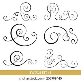 Set of six vector flourish swirls. Simple black contours on white.