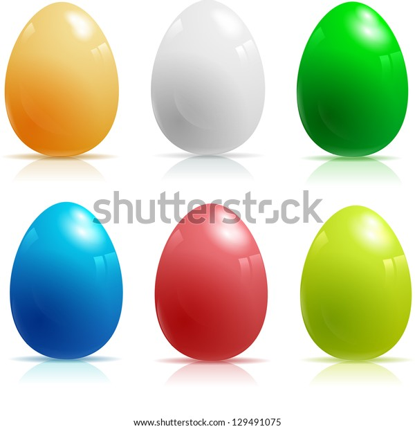 Set of six vector glossy easter eggs.