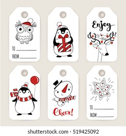 Set of six vector holiday Christmas tags with cartoon characters deer, penguin, owl, snowman and holiday calligraphy.