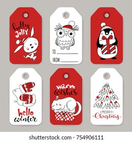 Set of six vector holiday Christmas tags with cartoon characters rabbit, penguin, owl and cat and holiday calligraphy.
