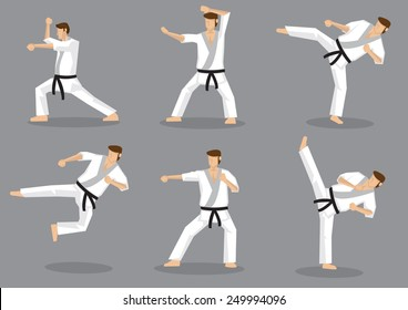 Set of six vector icons of full body cartoon man doing powerful kicks and punches isolated on grey background. Applicable to Karate and Taekwondo.