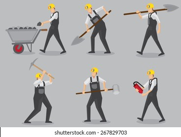 Set of six vector illustration of miner carrying mining tool and equipment in action. Cartoon characters isolated on plain grey background.