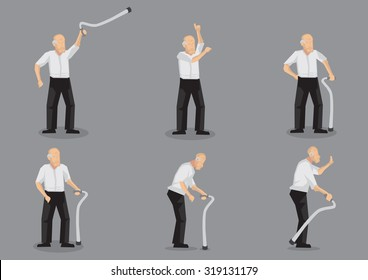 Set of six vector illustrations of blading old man cartoon character holding a walking stick in various gestures and poses isolated on grey background.