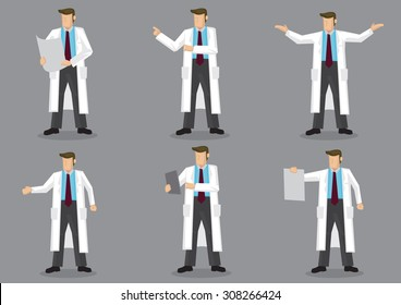 Set of six vector illustrations of cartoon man in long white coat or lab coat as doctor, scientist or laboratory researcher isolated on grey background.