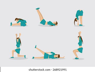 Set of six vector illustrations of sporty woman doing simple exercises for work out routine. Cartoon characters isolated on plain background.