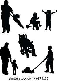 Set of six vector silhouettes, includes man in rocking chair, boy mowing lawn, child at play, father and child