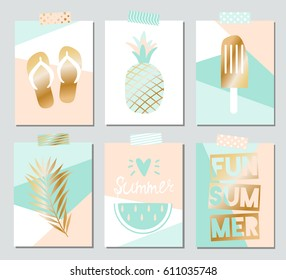 Set of six vector summer cards with beach elements for poster, brochure, card, cover, flyer, web and other users.