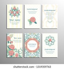 Set of six vertical business cards with french roses. Striped and polka dots backdrops. Place for your text