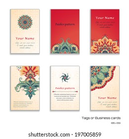 Set of six vertical business cards or tags. Beautiful floral pattern in oriental style. Simple delicate ornament. Place for your text.
