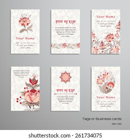 Set of six vertical business cards. The motives of the paintings of ancient Indian fabrics. Tree of Life collection. Place for your text.