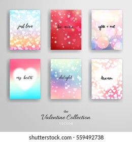 Set of six vertical business cards. Hearts and blurred lights. Valentine's Day or wedding. Place for your text.