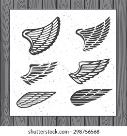 Set of Six Wings. Decoration Elements for Label, Logos, Emblems and Icons. Vector Isolated Tattoo Feathers. - stock vector