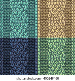 Set of Six-Stitch cable stitch patterns. Vector left-twisting rope cable (C6F) seamless pattern. Knitting texture. Boundless background can be used for web page backgrounds.