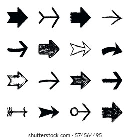 Set of sixteen black arrow sign painted by painting brushstroke. Ink sketch drawing created in handmade technique. Quick and easy recolor graphic element in technique vector illustration