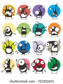 Set of sixteen color stickers with cute monsters. Cartoon illustration. Vector set
