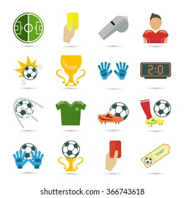 Set of sixteen colored football icons