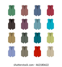 Set of sixteen colored waistcoats in a flat style, isolated on white background, design element outerwear and the subject of a businessman wardrobe, vector illustration.