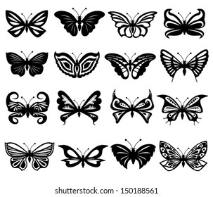 Set of sixteen different black and white beautiful butterflies. Hand drawing vector illustration