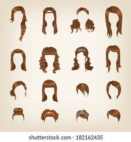 Set of sixteen different brown hairstyles for women