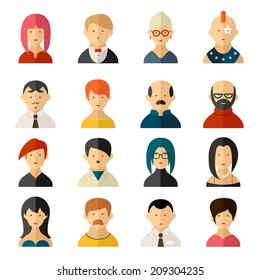 Set of sixteen different colorful vector user interface avatar icons with diverse men and women  old and young  hairstyles and clothing  punk to classy