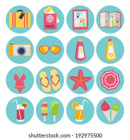 Set of sixteen different round summer vacation icons with a suitcase, passport, map, camera, sunglasses, sunscreen, swimsuit, slip slops, starfish, beach umbrella, cocktail, ice lolly and ice cream