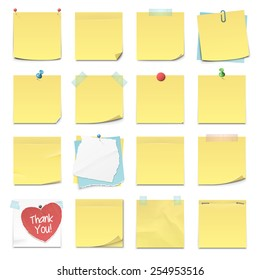 Set of sixteen different yellow sticky notes in vector format. Isolated on white.