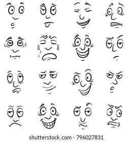 Set of sixteen funny male grimaces, sketching cartoon vector outlines isolated on the white background