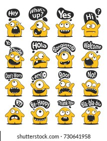 Set of sixteen funny yellow personage with cute emotions and  message cloud with greeting text isolated on white. Cartoon characters for different use.