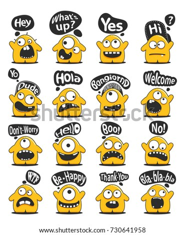 Set sixteen funny yellow personage cute stock vector royalty free set of sixteen funny yellow personage with cute emotions and message cloud with greeting text isolated m4hsunfo