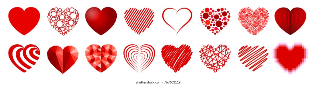 Set of sixteen hearts - stock vector