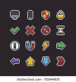 Set of sixteen pixel art 8-bit UI icons with pc and mobile devices, shield, lock, hourglass, compass, magnet, lightning and arrows