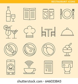 Set of sixteen restaurant icons for your projects about food, beverages and restaurant.