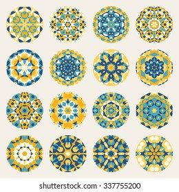 Set of Sixteen Round Blue Yellow Mandala kaleidoscope Geometric Ornaments Circles Design Elements