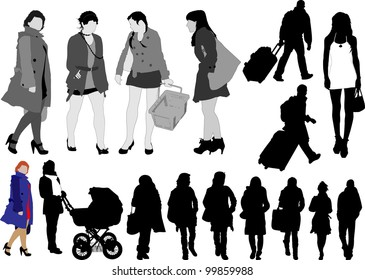 Set of sixteen silhouettes of person in action