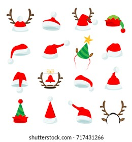 Set of sixteen vector Christmas hat cartoon Illustrations.