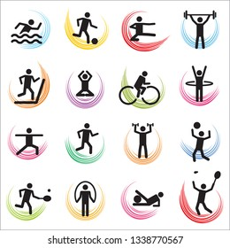 Set of sixteen vector sport icons.