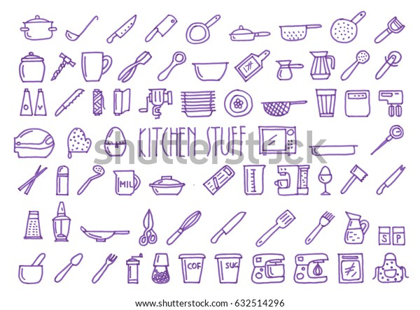 Set of sixty nine kitchen stuff hand drawn blue icons drawn with a felt-tip pen