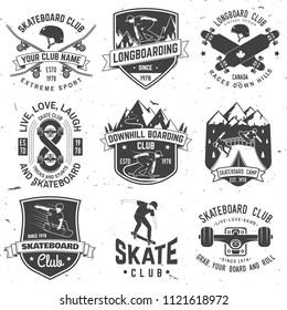Set of Skateboard and longboard club badges. Vector illustration. For skate club emblems, signs and t-shirt design. Vintage typography design with skateboards, skate truck and helmet. Extreme sport.