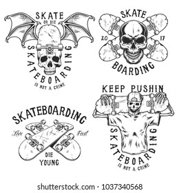 Set of skateboarding emblems in black colour isolated on white. Vector illustration